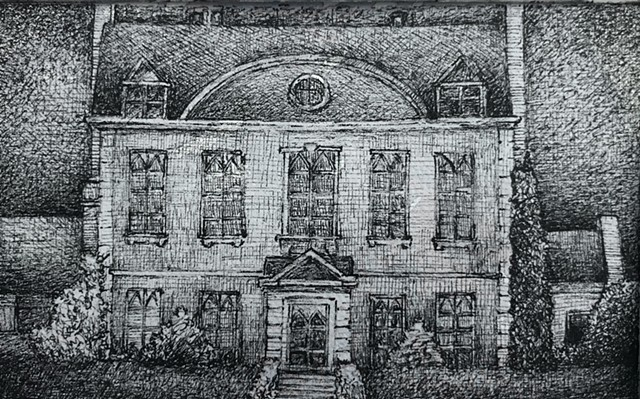 Stately english manor home pen and ink drawing