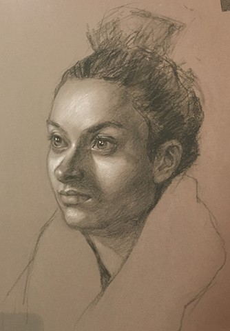Charcoal and White Chalk portrait drawing on paper