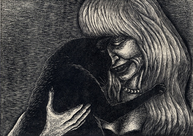 Image of a woman with a cat made created using wood engraving printing method