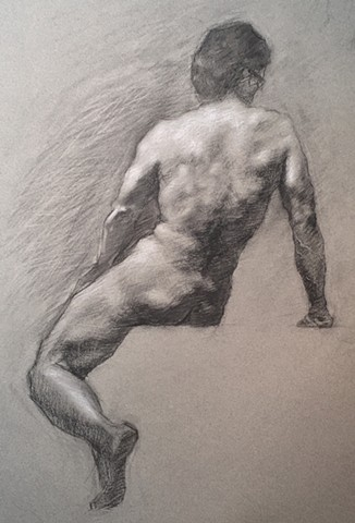 Charcoal and White Chalk drawing on Mi-Tientes paper