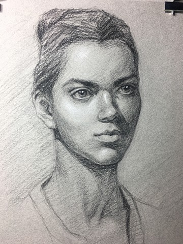 Charcoal and White Chalk portrait on paper