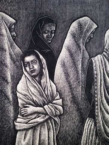 Wood Engraving depicting south asian cultural issue