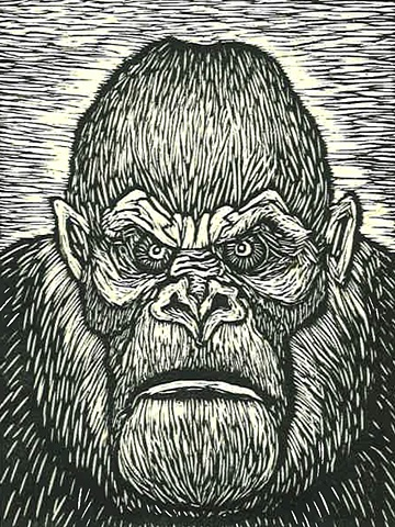 image of gorilla or ape created using wood engraving printing method