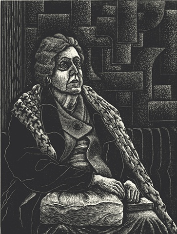 Image of woman sitting and waiting created using wood engraving printing method