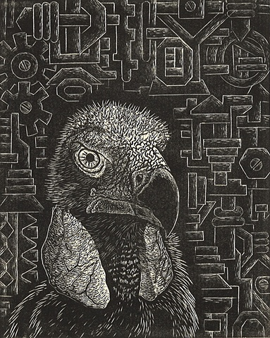 image of a vulture or buzzard in front of machine parts created using wood engraving printing method