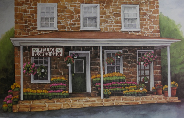 Flower Shop-Unframed
