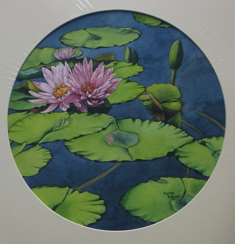 Waterlilies Pink - Circle Unframed
