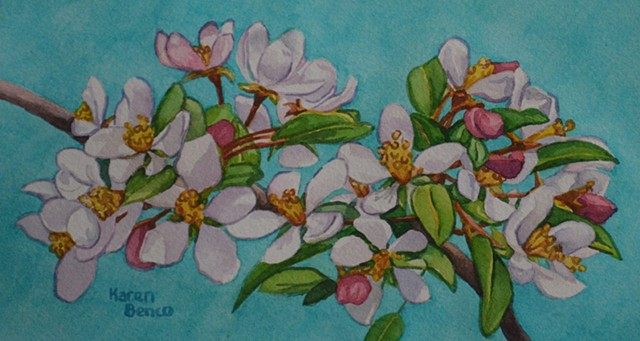 Blossoms on Teal