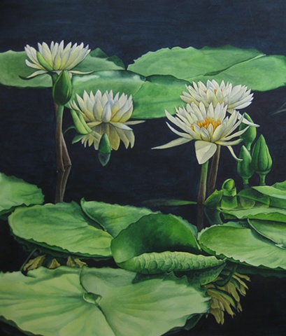 Waterlillies Yellow-Unframed