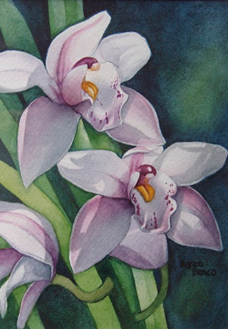 Orchids Pink Cymbidium-Framed