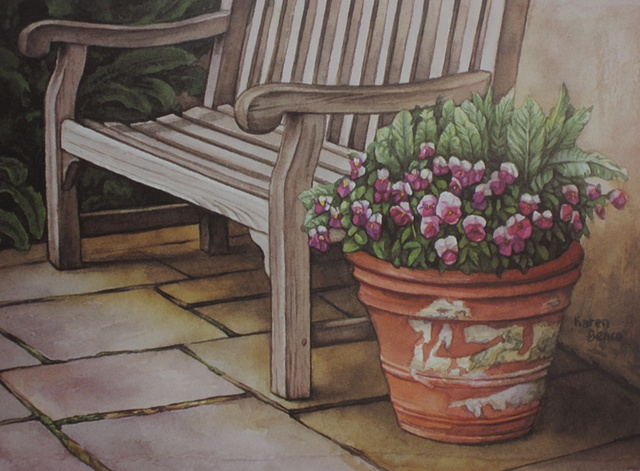 Bench with Pansies-Unframed