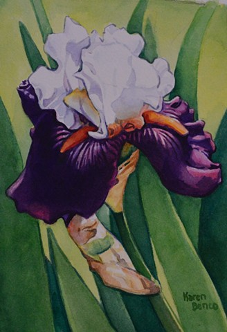 White Purple Iris-Framed