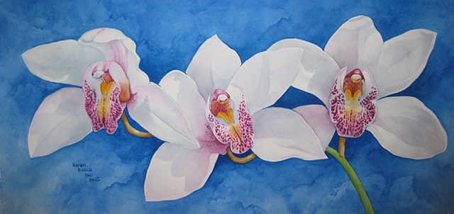 Orchids White Trio on Blue-Unframed