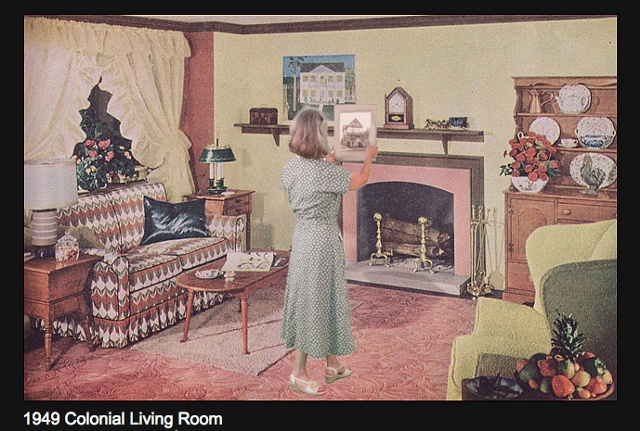 1949 Colonial Living Room (hanging photo of original family home).