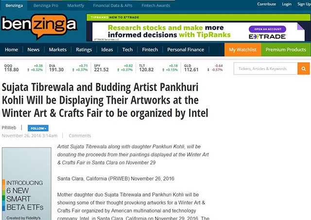 Sujata Tibrewala and Budding Artist Pankhuri Kohli Will be Displaying Their Artworks at the Winter Art & Crafts Fair to be organized by Intel