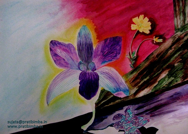 Conceptual water color and soft pastel painting on paper of flowers