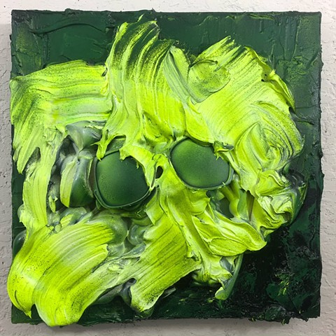 aerosol, latex, silicone, joint compound, sunglasses, on canvas 12x12 in.
