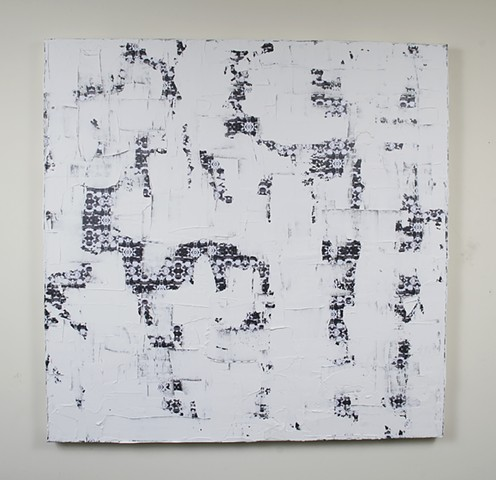 silicone, latex, joint compound, paper, on canvas 36 x 36 in.