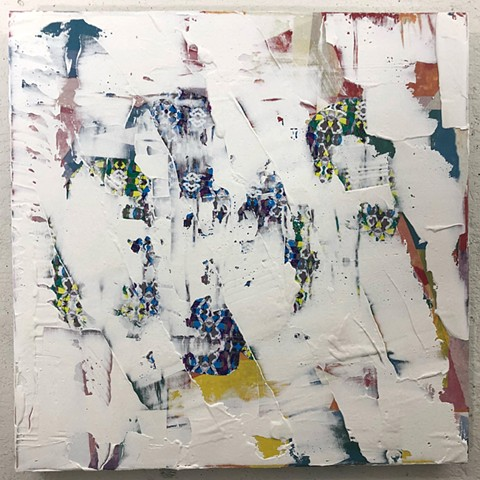 silicone, latex, joint compound, paper, on canvas 24 x 24 in.