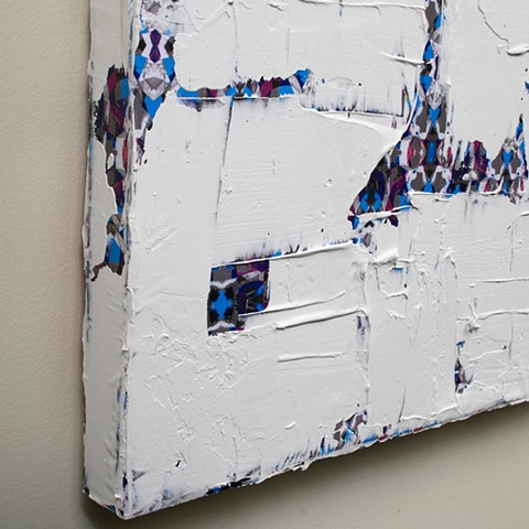 silicone, latex, joint compound, paper, on canvas 48 x 36 in.
