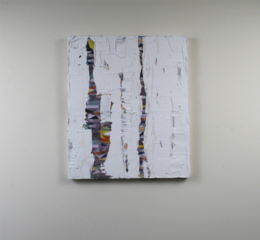 silicone, latex, joint compound, paper, on canvas 20 x 17 in.