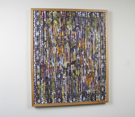 acrylic, latex, paper, spray paint, on wood 31 x 25 in. (framed)