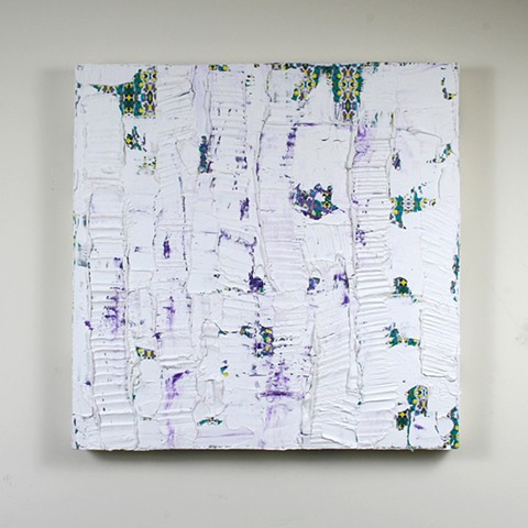 silicone, latex, joint compound, paper, on canvas 30 x 30 in.