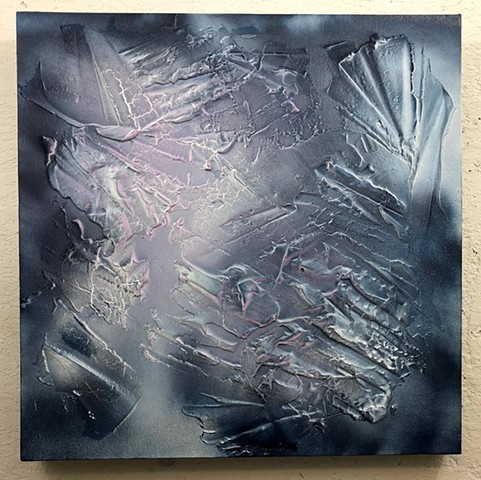 aerosol,latex, silicone, joint compound, on canvas 24 x 24 in.