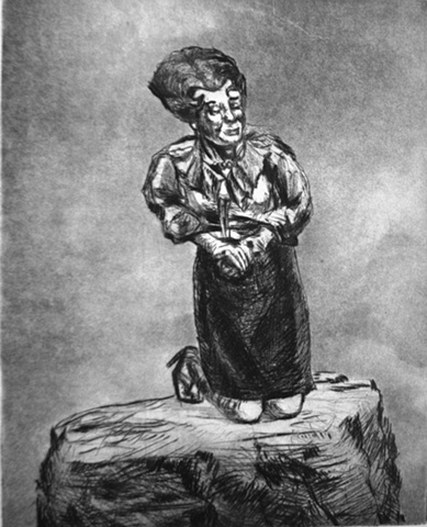 intaglio print of British comedienne Prunella Scales kneeling on a fogbound rock by Chris Mona Rocks