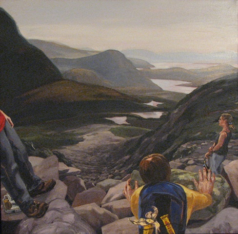 painting of hiking up Gros Morne Mountain Newfoundland, with three hikers looking at scree by Chris Mona