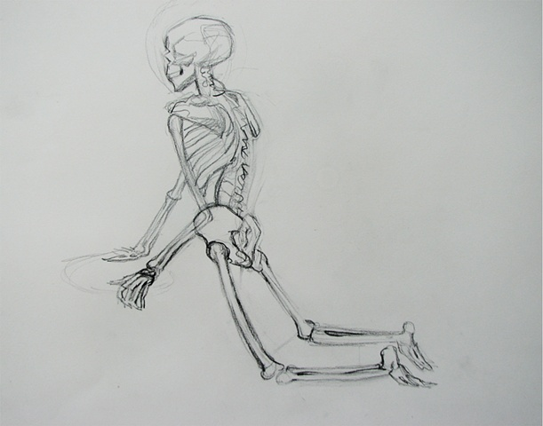 drawing of Kneeling Skeleton by Chris Mona