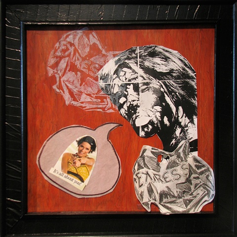 painting on wood panel and collage of alt rock emo punk singer as visionary experience with ghostly Express shopping bags by Chris Mona