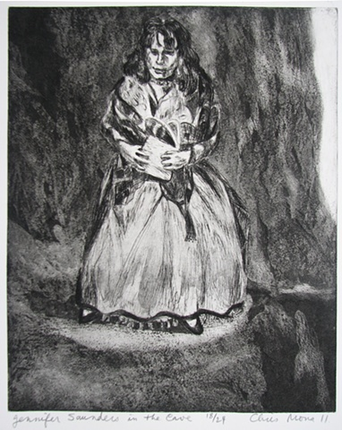 intaglio print of British comedienne Jennifer Saunders clutching a purse as a visionary experience in a cave by Chris Mona