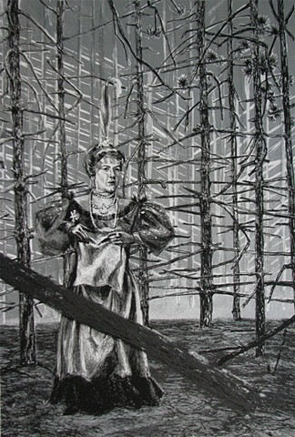 lithograph by Chris Mona of Barbara Sims