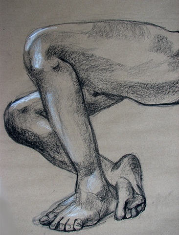 drawing of male legs by Chris Mona