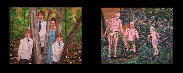 painting on two panels of the Christian singing group the DeLauder Family and Chris Mona shown in old age, present, and as a child in his backyard garden
