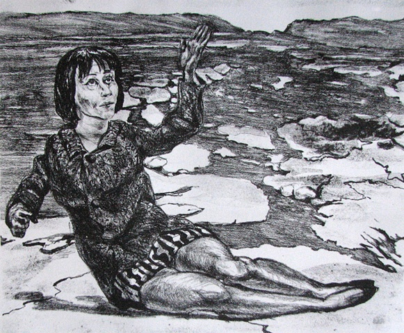 lithograph of the British actress Rita Tushingham reclining and waving as a visionary experience on the planet Venus in a rocky landscape east of Phoebe Regio by Chris Monaenus, East of Phoebe Regio