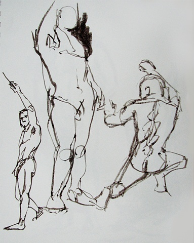drawing of standing male nudes by Chris Mona