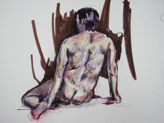 drawing of male back by Chris Mona