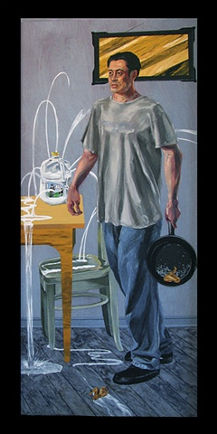 painting of Gabe Funes carrying a frying pan, with a jug of milk shot through and pouring milk by Chris Mona