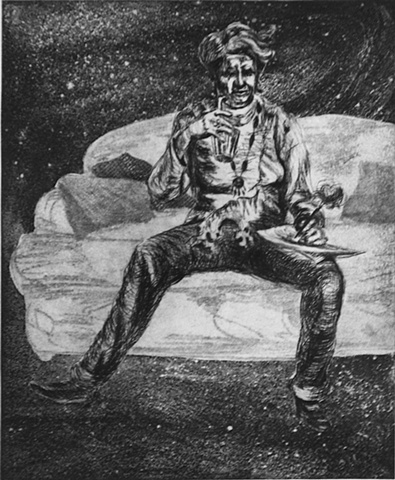 intaglio print of American comedienne Amy Sedaris sitting on a couch as a visionary experience in a galactic setting by Chris Mona