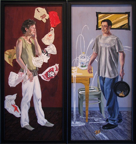 painting of Tina Ward surrounded by shopping bags and Gabe Fubes in a domestic setting by Chris Mona