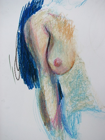 drawing of nude female torso by Chris Mona
