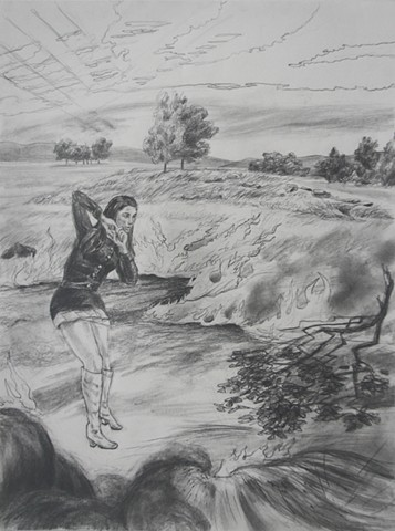 drawing by Chris Mona of Elizabeth Rust Williams at Clermont, VA