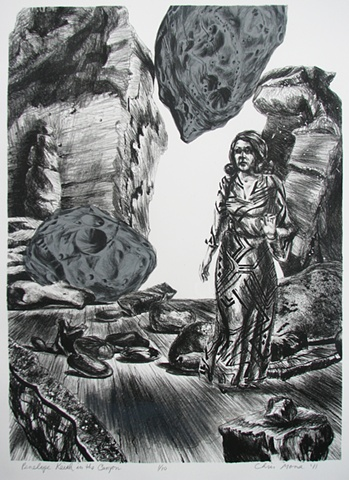 lithograph of the British comedienne Penelope Keith in a 1970's dress as a visionary experience in a canyon setting with the moons of Mars Deimos and Phobos by Chris Mona