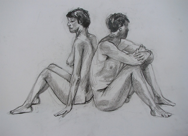 drawing of nude couple by Chris Mona
