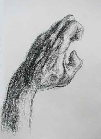 drawing of hand by Chris Mona