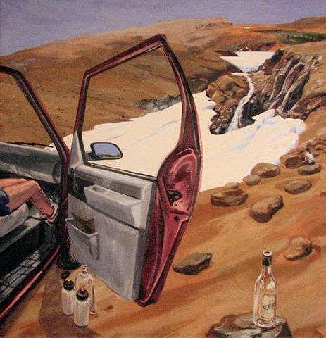 painting of Astro van with door open at a glacier in Tablelands Newfoundland by Chris Mona