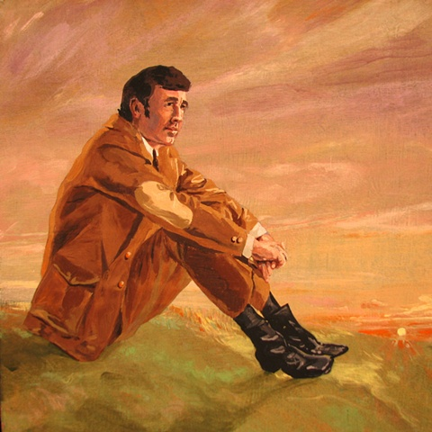 painting on wood panel of Christian singer David Epley at sunrise by Chris Mona