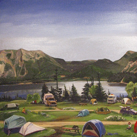 painting of Killdevil Mountain Newfoundland, and Lomond Campground Newfoundland, by Chris Mona